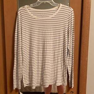 Maurices long sleeve white and gray stripe blouse